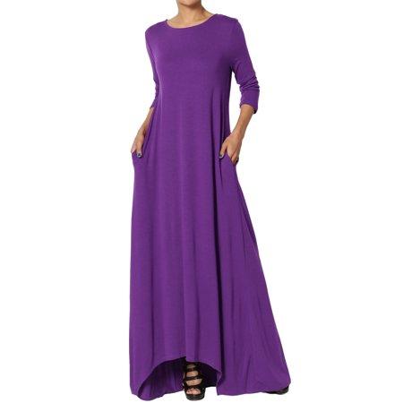 TheMogan Women's & PLUS Loose Asymmetric Hem 3/4 Sleeve Pocket Jersey Maxi Dress (Asymmetric Flounce Dress)