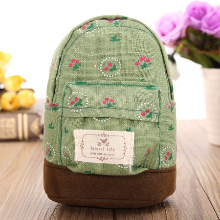 Cute Canvas Mini Coin Wallet Key Card Backpack Cash Bag Zipper Pouch Purse Girls Kids Women - image 4 of 5