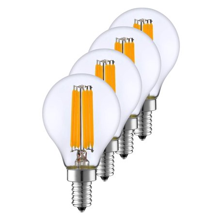 SleekLighting 6 Watt G16.5 E12 LED Filament Globe Light Bulb,Dimmble (60W Incandescent Replacement) Warm White 2700K - 4 (Cree 9-5 Watt 60w Led Light Bulb)