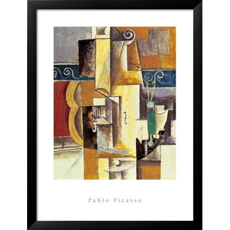 Violin And Guitar Framed Art Print Wall Art  By Pablo Picasso - 26.5x34.5 ()