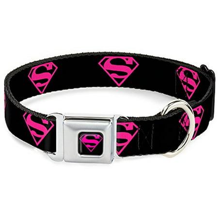 Dog Collar SMD-Superman Black Hot Pink - Superman Shield Black Hot Pink - Pet Collar - Superman Dog