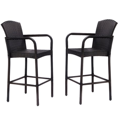 Gymax 2PC Rattan Wicker Bar Stool High Armrest Chair Patio ()