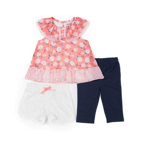 Little Lass Short Sleeve Printed Chiffon Top, Lace Short & Capri, 3pc Outfit Set (Baby Girls & Toddler Girls)