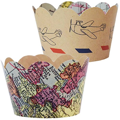 World Map Party Supplies.Baby Shower Decorations For Boy 36 Vintage Map Cupcake Wrappers