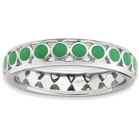 Circle Green Ring - Sterling Silver Polished Green Circles Enameled Ring