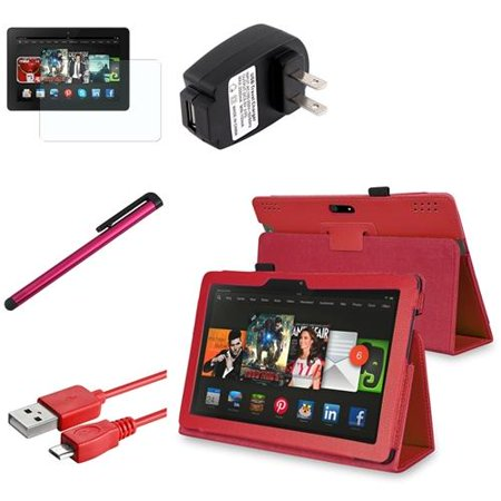 insten red leather case stand cover wall charger cable pen for kindle fire hdx 8 9 2013. Black Bedroom Furniture Sets. Home Design Ideas