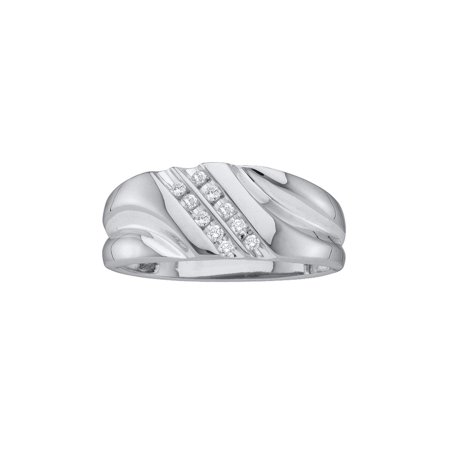 10kt White Gold Mens Round Diamond 2-row Wedding Anniversary Band Ring 1/8 Cttw ()