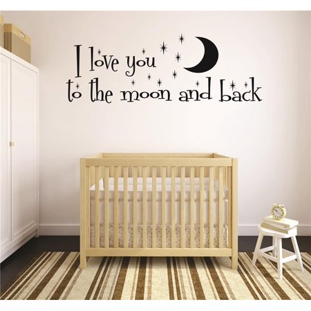 I Love You To The Moon   Back Quote Stars Baby Boy Girl Unisex Decor Peel   Stick Sticker Vinyl Wall Decal 10X20 Inches
