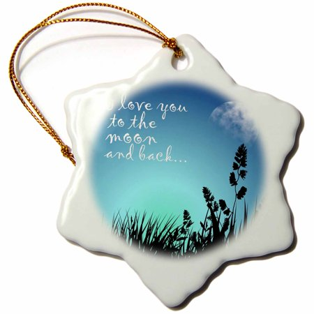 3dRose Beautiful Blue Night Scene- I Love You to The Moon and Back, Snowflake Ornament, Porcelain, 3-inch](Snowflake Scenes)