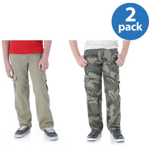Wrangler Husky Boys' Classic Cargo Twill Pant, 2-Pack