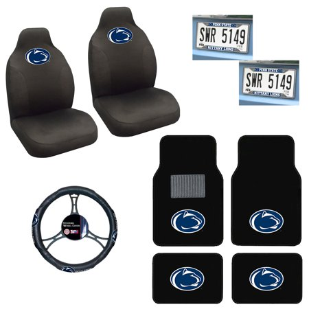 Penn State Nittany Lions 4 Pc Carpet Floor Mats And 2 Chrome License Plate Frame With 2 Seat Covers Plus Wheel Cover Nittany Lions License Plate Frame