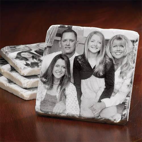 Personalized Tumbled Marble Photo Coasters
