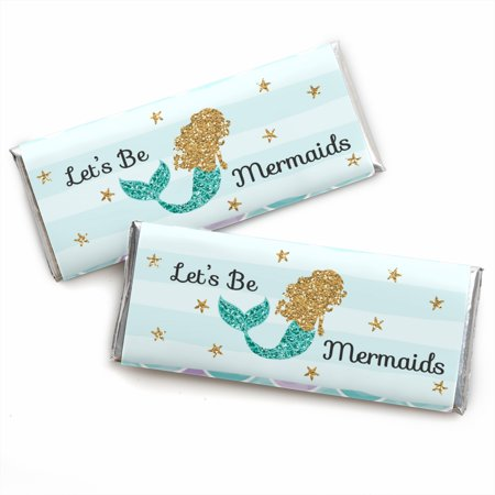 Let's Be Mermaids - Candy Bar Wrappers Baby Shower or Birthday Party Favors - Set of 24