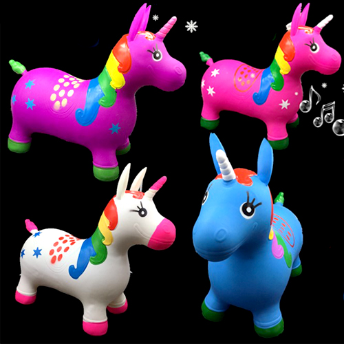Unicorn Bouncing Horse Set Includes 1 White Unicorn Inflatable Hopper with Plush Cover 1 Pump and Comes in Colorful Gift Box Hopping Animal Toy Gift for Kids 18 Months 3 and 4 Years Old 2