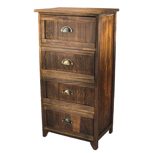 Millwood Pines Steinhoff Classic Rustic Wood Storage 4 Drawer Nightstand