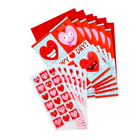 Hallmark Pack of Valentine's Day Cards with Stickers for Kids (6 Cards with Envelopes, 6 Heart Emoticon Sticker Sheets)