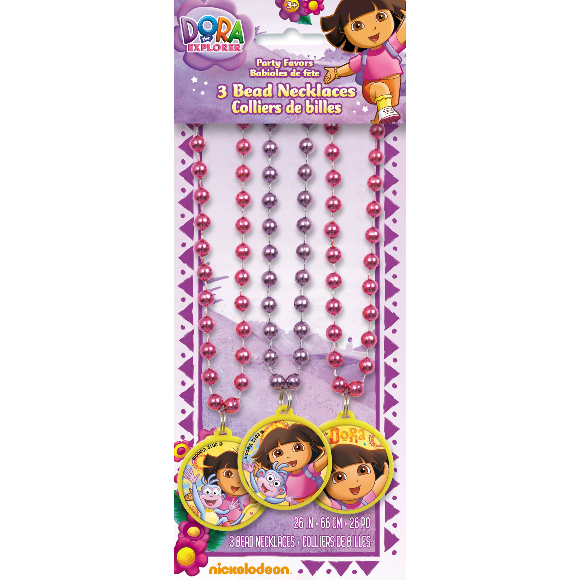 Dora the Explorer Bead Necklaces, 3-Count