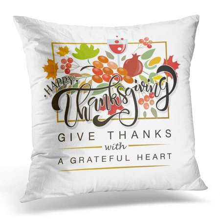ARHOME Happy Thanksgiving Lettering Celebration Quotation on for Badge Calligraphy Text with Maple Leaves Wine Pillow Case Pillow Cover 20x20 (California Thanksgiving Wine Basket)