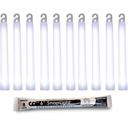 Premium Glow Sticks (Cyalume SnapLight White Glow Sticks, 6