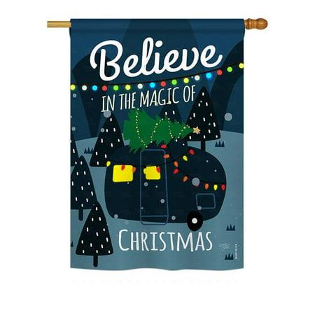 Breeze Decor BD-XM-H-114152-IP-BO-DS02-US 28 x 40 in. Seasonal Christmas Impressions Decorative Vertical House Flag - Believe the Magic Trailer Winter Magic Vertical Flag