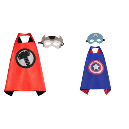 Captain America & Thor Costumes - 2 Capes, 2 Masks with Gift Box by Superheroes