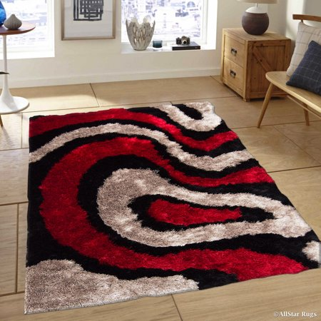 - Allstar Red Geometric Thick Area Rug (7' 11