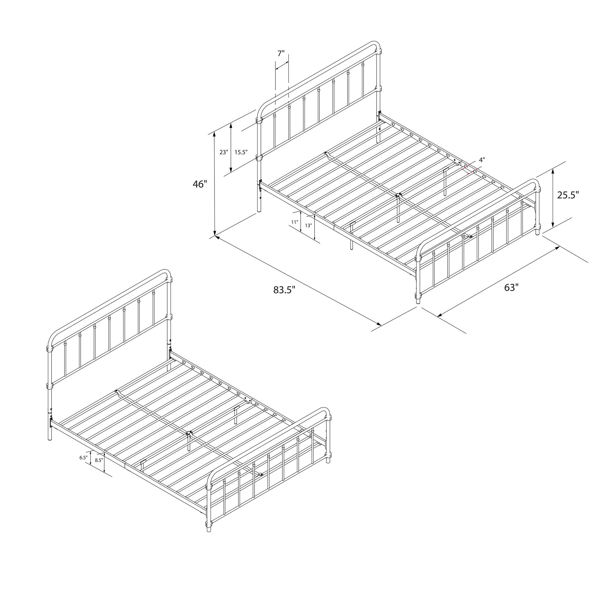 Queen Size Bed Frame Metal Headboard Footboard Adjustable