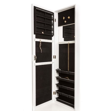 Jewelry Armoire Wall Mount with Mirror Hangs Over the Door Locking Cabinet