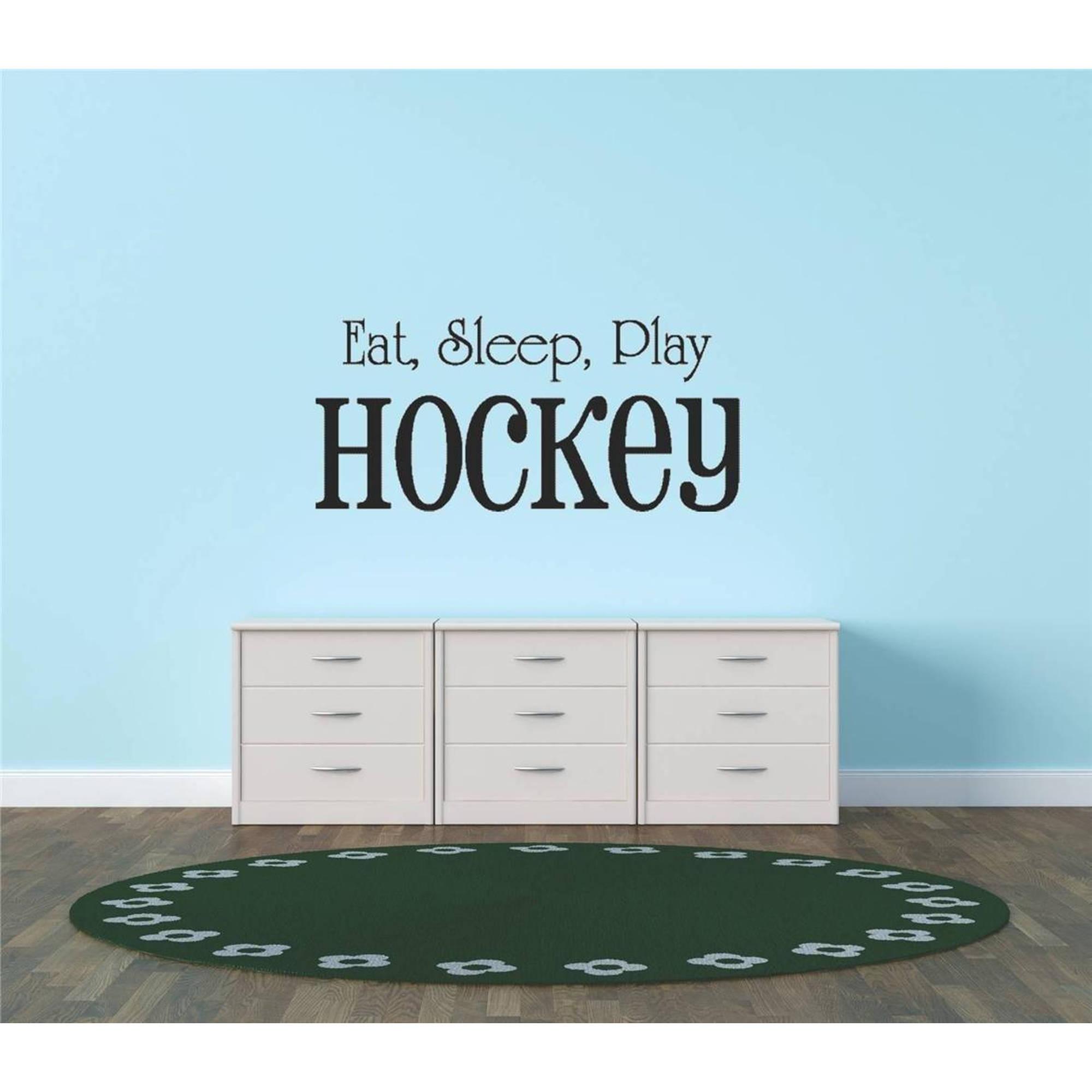 """Eat, Sleep, Play Hockey Bedroom Vinyl Wall Decal  112 8"""" x 20"""" Black"""