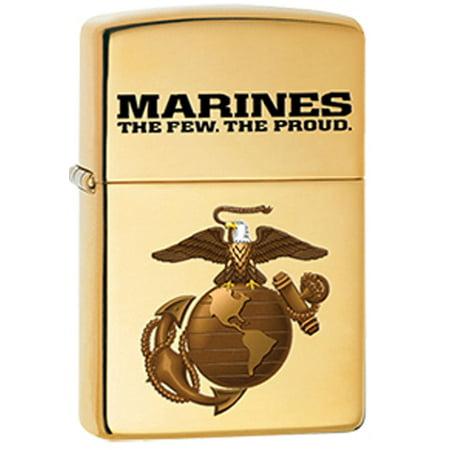USMC Marine Corps Solid Brass EGA Logo Military Zippo Lighter