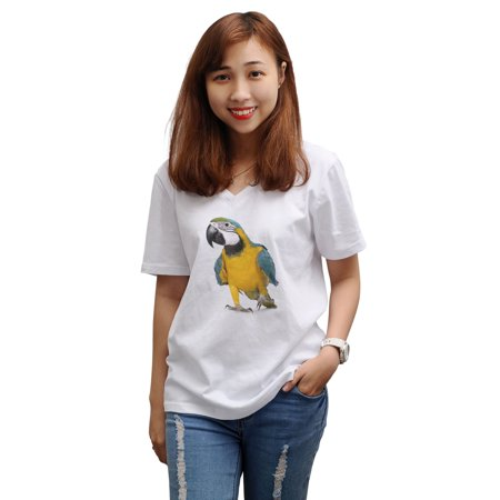 Macaw - Ara Ararauna Printed 100% Cotton V-Neck Short Sleeves T-shirt WTS_16 XL