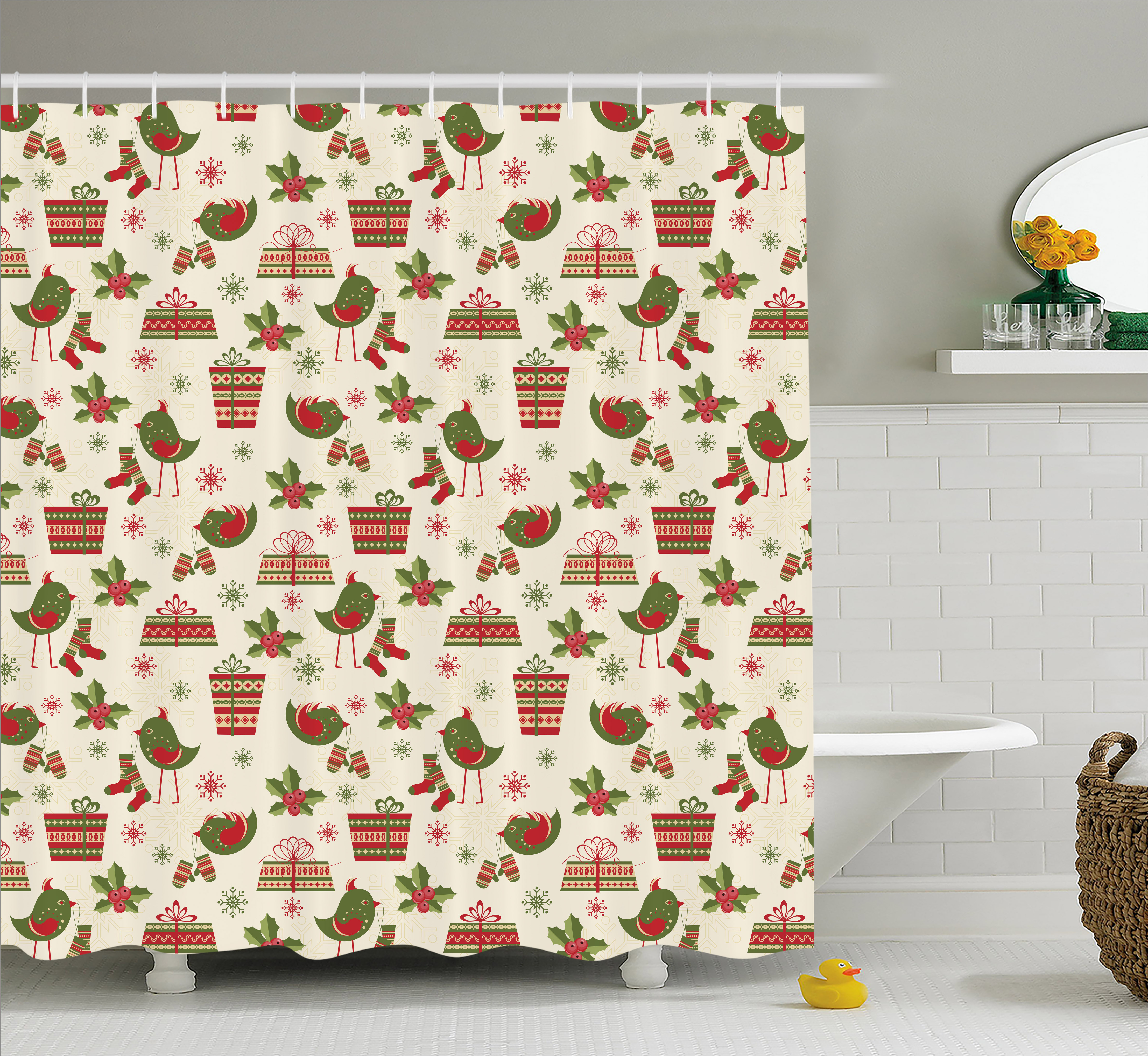 Christmas Shower Curtain, Surprise Boxes With Rich Patterns And Holiday
