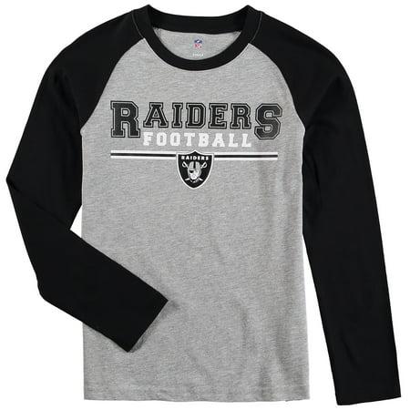 Oakland Raiders Youth Fan Gear Field Line Long Sleeve Raglan T-Shirt - Heathered