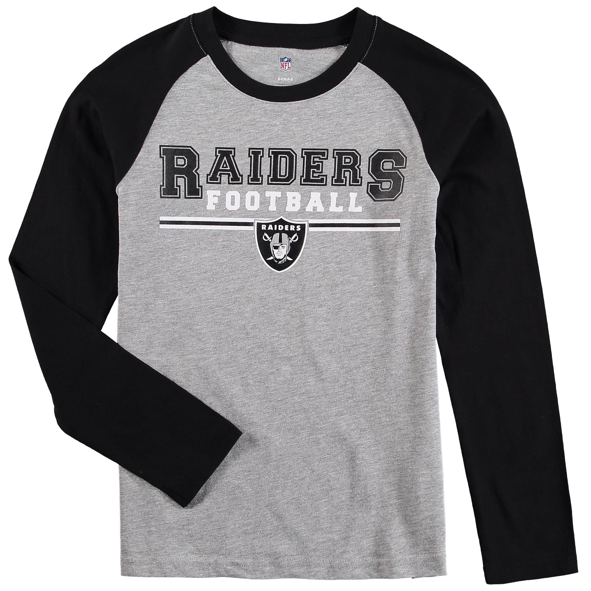 Oakland Raiders Youth Fan Gear Field Line Long Sleeve Raglan T-Shirt - Heathered Gray/Black