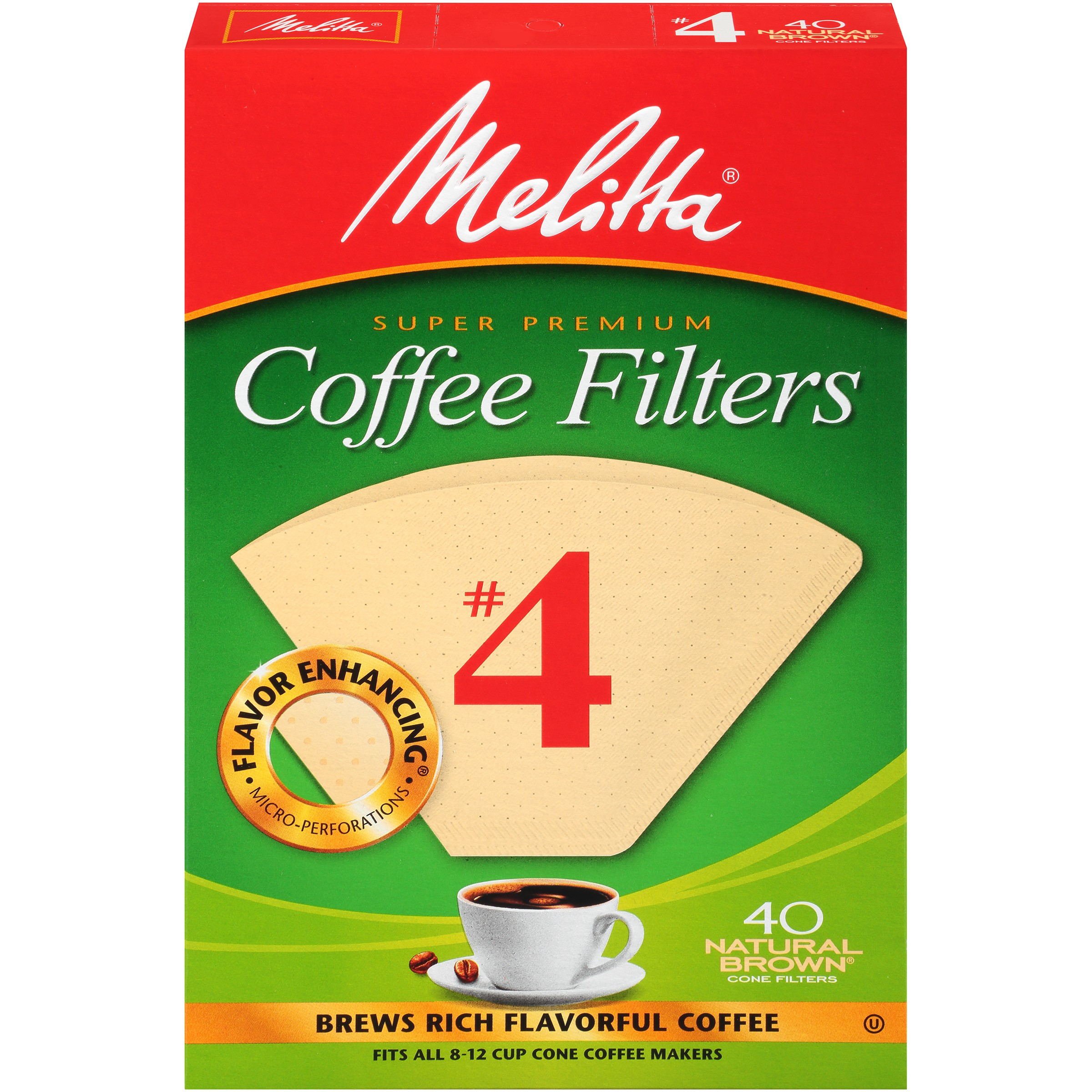 Melitta #4 Natural Brown Cone Coffee Filters, 40 Ct