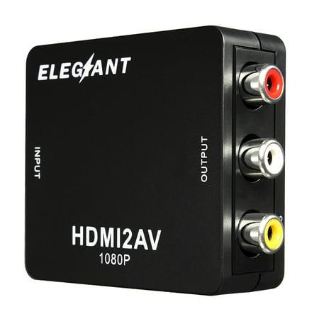 ELEGIANT HD MI to RCA Converter,Mini Flexible Audio Video AV CVBS HD TV Adapter,USB 720p/1080P,Apply to camera, DVD, Displayer, Earphone, -