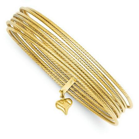 Prince Gold Bangles - 14k Yellow Gold Hollow Textured Polished Slip 7 Bangle Bracelets - 15.0 Grams