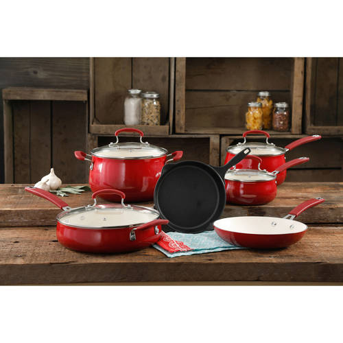 The Pioneer Woman Classic Belly Ceramic Non-Stick Interior Cookware Set, 10 Piece