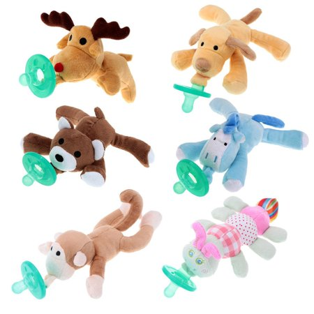 1Pc Infant Baby Boy Girl Silicone Pacifiers Cuddly Plush Animal Baby Nipples ()