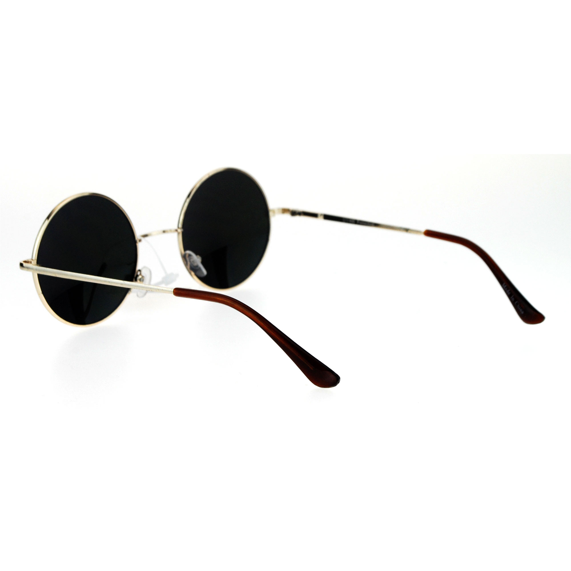 10d29f56214 SA106 - Reflective Color Mirrored Hippie Groove Round Circle Lens Retro  Sunglasses Gold Orange - Walmart.com