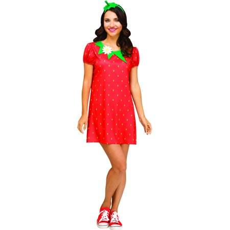 Adult's Womens Flirty Fruit Strawberry Tunic Costume