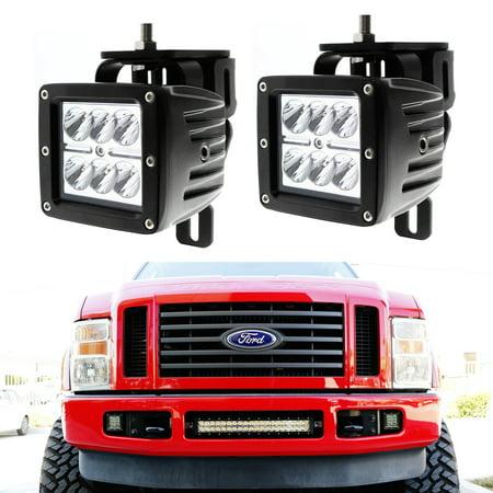 iJDMTOY (2) 24W High Power Dually 2x3 LED Pod Lights w/ Fog Light Location Mounting Brackets & Wiring Kit For 1999-2016 Ford F-250 F-350 F-450 Super Duty