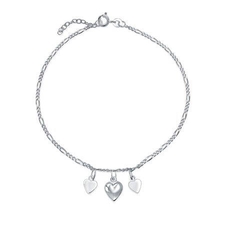 4 Multi Hearts Dangle Charms Anklet Ankle Bracelet 925 Sterling Silver Adjustable 9 to 10 Inch with (Sterling Silver Ankle Anklet Bracelet)