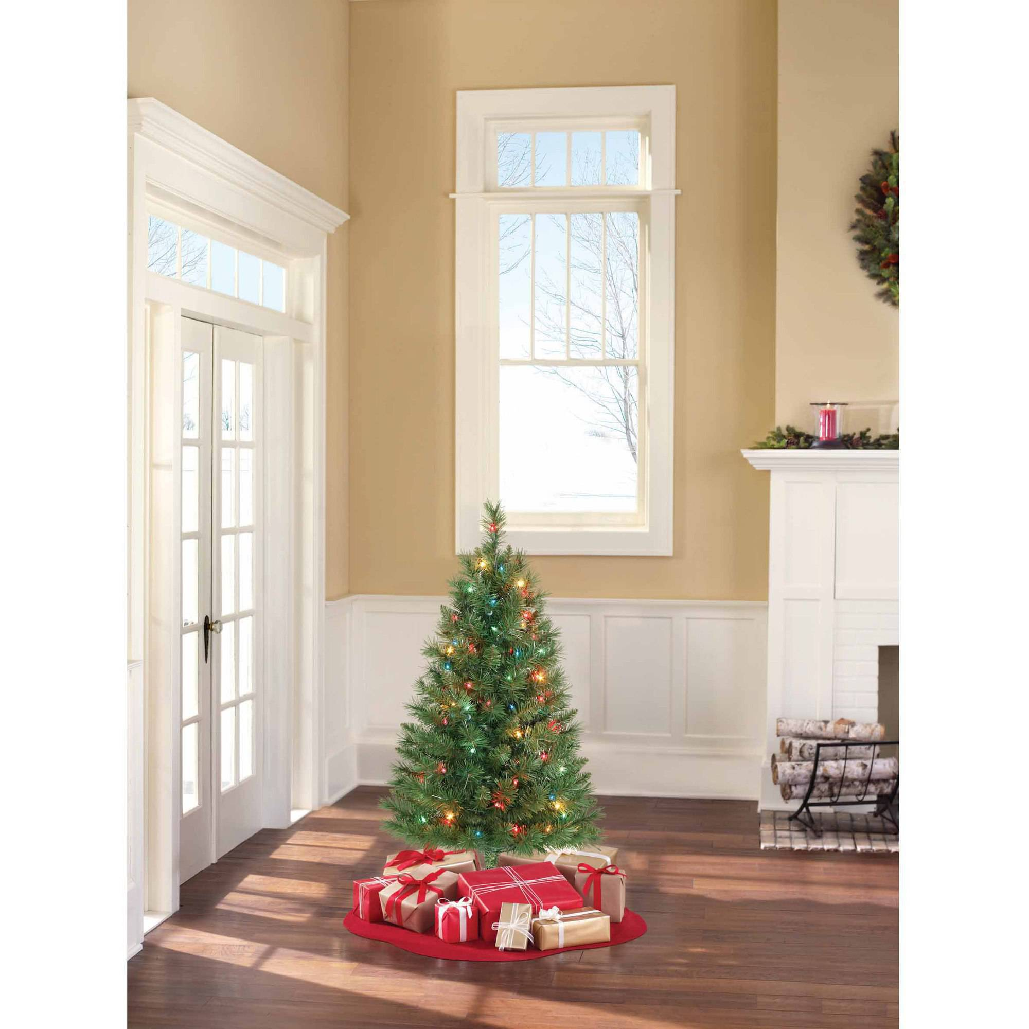 Holiday Time Pre Lit 3u0027 Winston Pine Artificial Christmas Tree, Multi Lights
