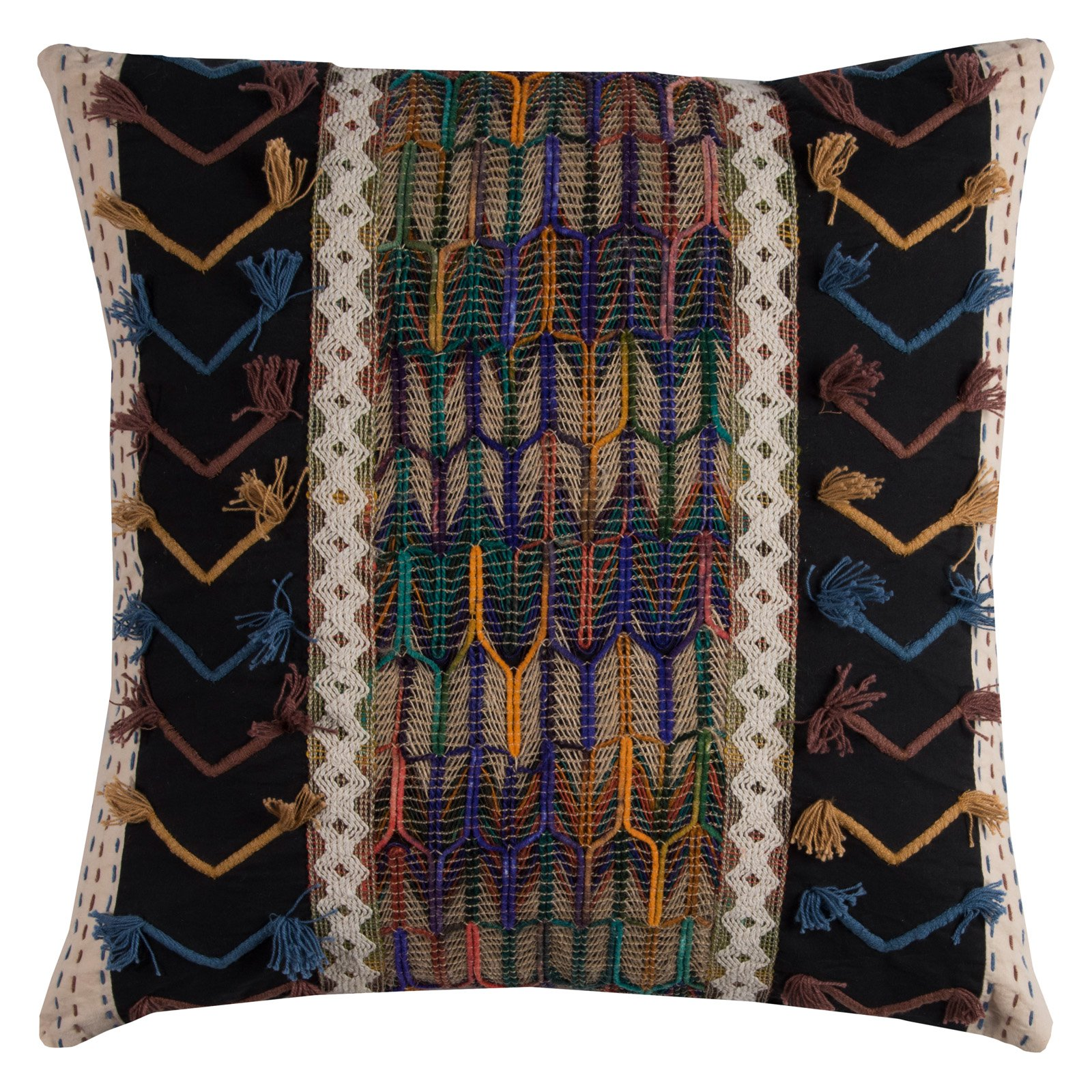 "Rizzy Home TRIBAL MIXED MEDIA20"" x 20""Cottondecorative filled pillow"