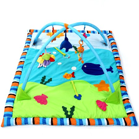 Baby Gym Activity Newborn Toddle Soft Cotton Musical Playmat Infants Ocean Play Mat Activity Gym Overhead Arches with Toys,Fish, Music and Sounds Soft Padding