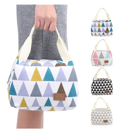 Colored Box Bottom (Stylish Waterproof Insulated Picnic Bag Handbag Portable Lunch Box Bag for Students Office Worker Colored)