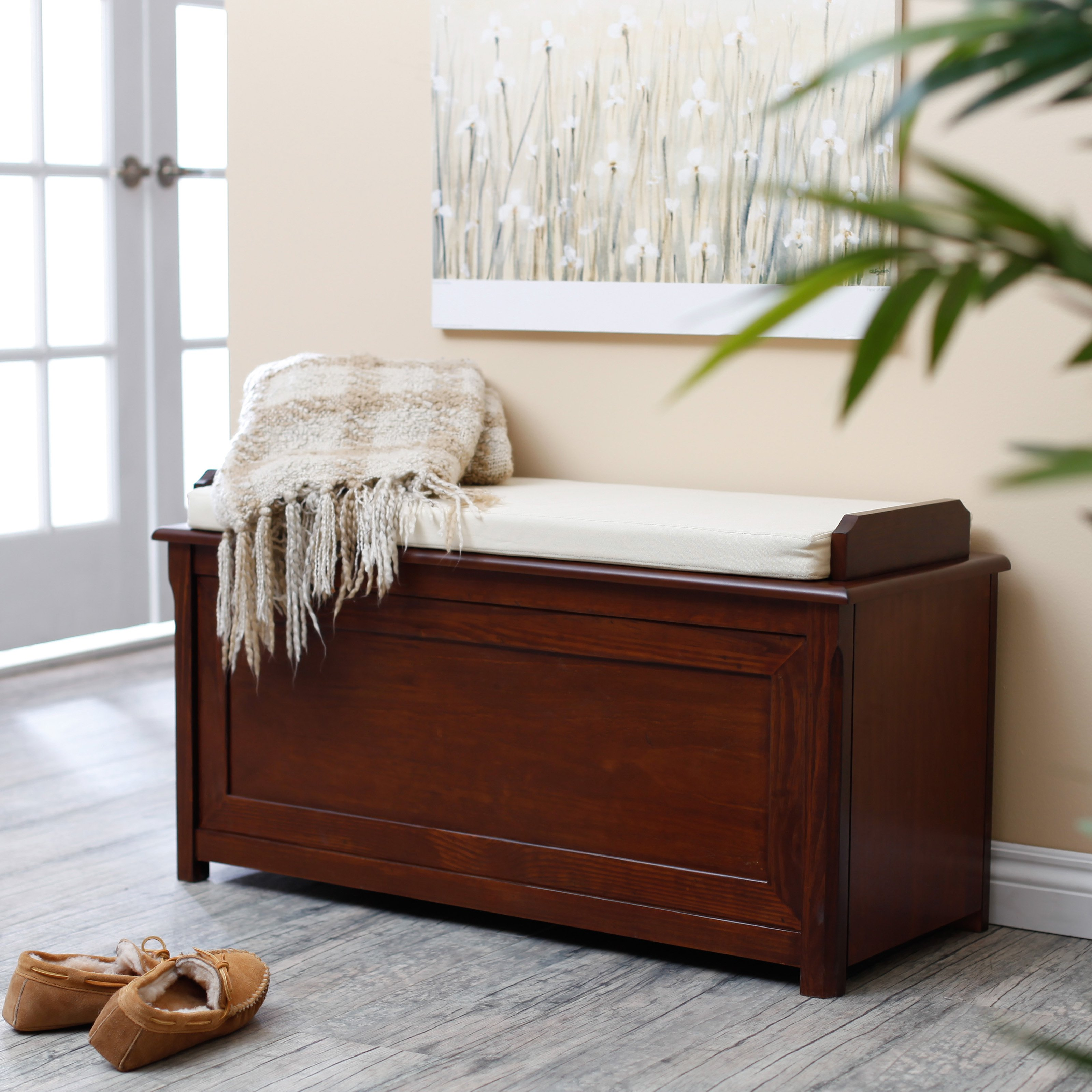 Belham Living Cedar Chest Mission Bench with Cushion - Ch...