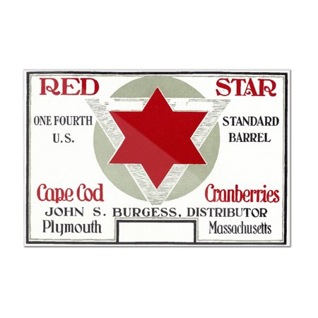 Plymouth, Massachusetts - Red Star Brand Cape Cod Cranberry Label (12x8 Acrylic Wall Art Gallery - Plymouth Stars