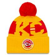 Kansas City Chiefs New Era 2020 NFL Sideline Sport Pom Cuffed Knit Hat - Gold/Red - OSFA